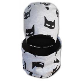 Детский набор  шапка+бафф Шкодная кошка для мальчика